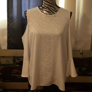 White silk w/ shoulders cut-out  shirt size large